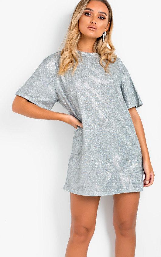 b37c1f47bc Frida Glitter Oversized T-shirt Dress in Silver