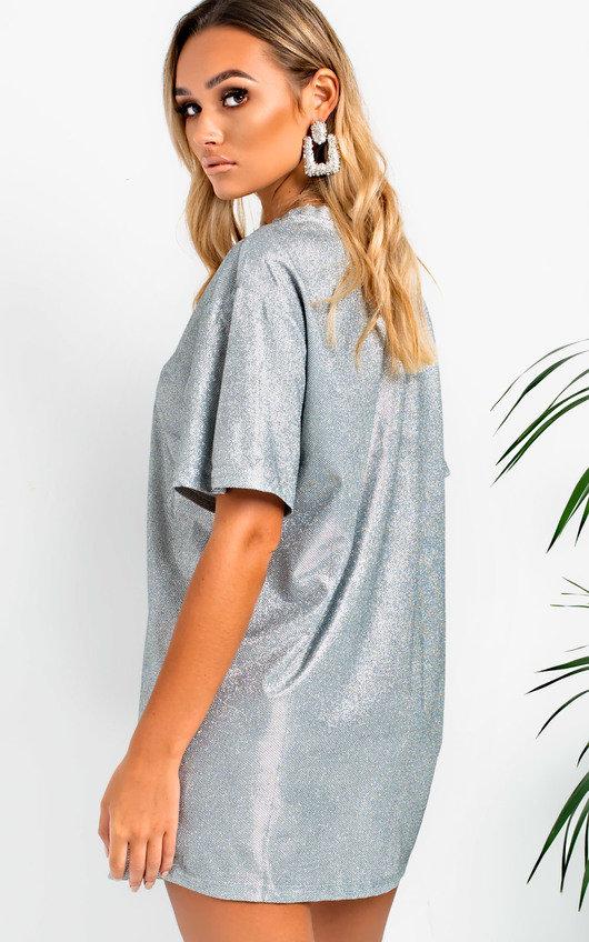 b5d8ee31588 Frida Glitter Oversized T-shirt Dress in Silver   ikrush