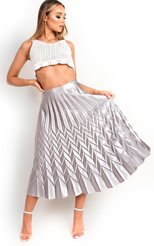 Gabbana Metallic Pleated Midi Skirt