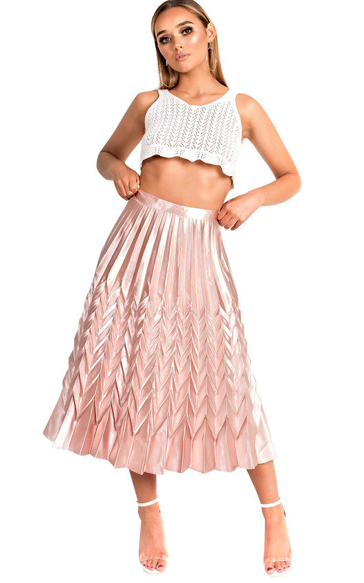 Gabbana Metallic Pleated Midi Skirt In Rose Ikrush