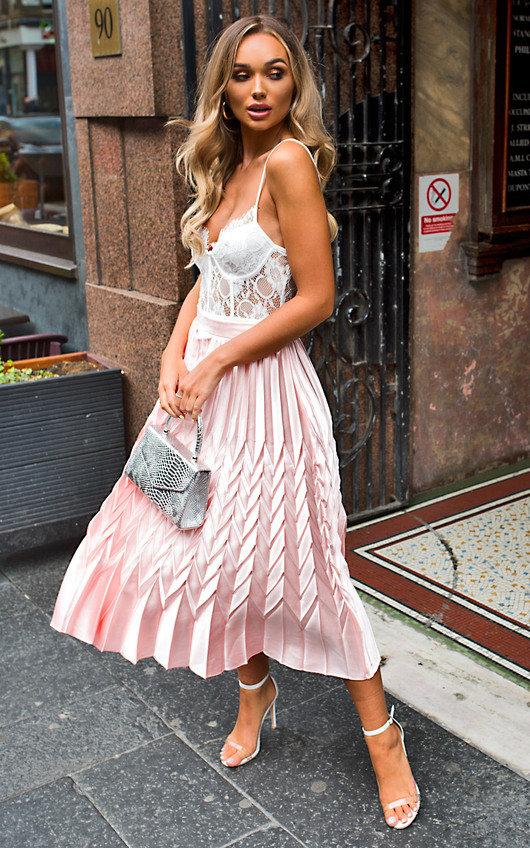 Gabbana Metallic Pleated Midi Skirt