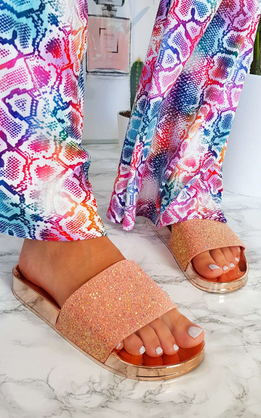 Gabi Iridescent Glitter Sliders