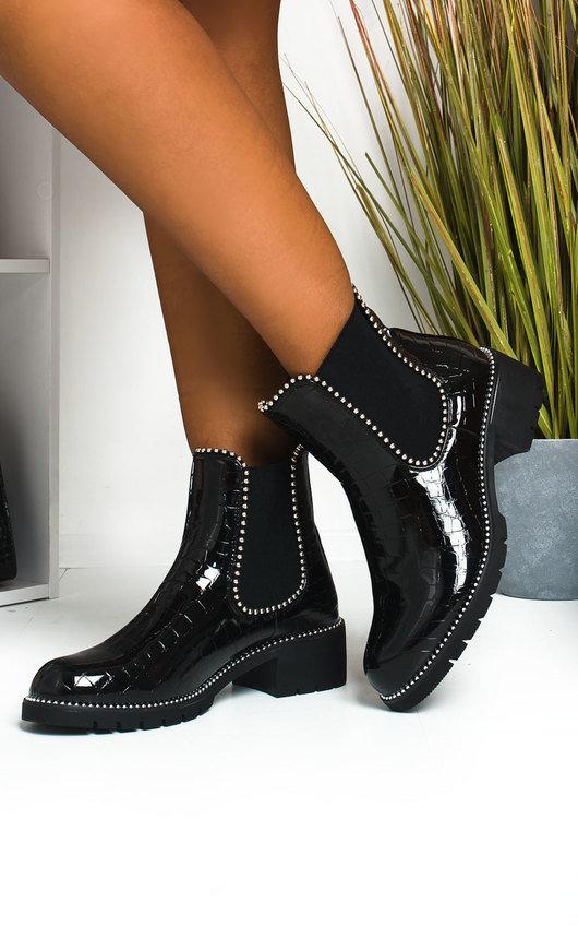 Gemma Croc Print Patent Ankle Boots