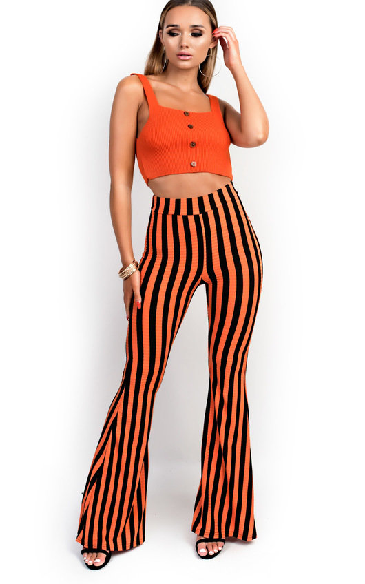 Gemma High Waist Stripe Wide Leg Trousers