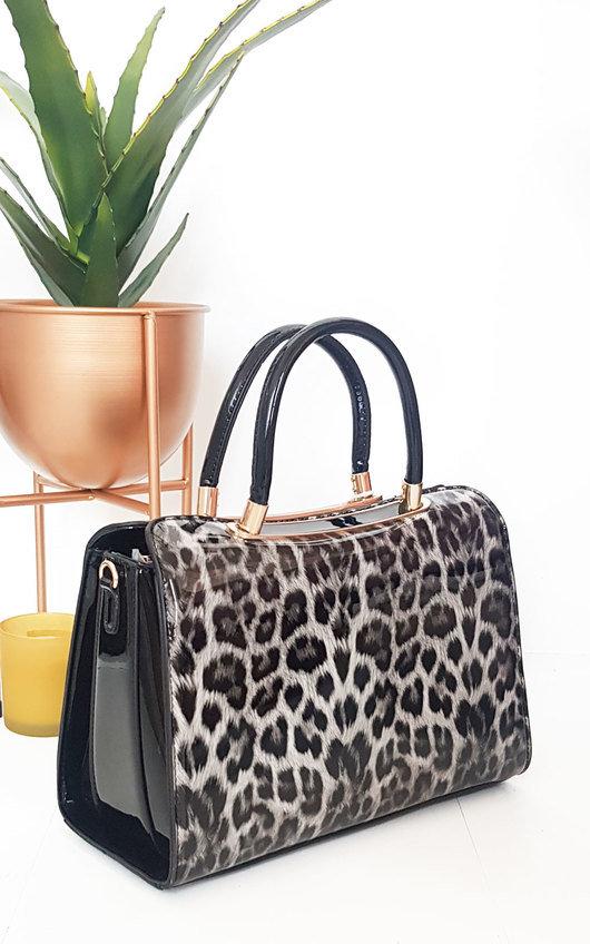 Gemma Leopard Print Patent Handbag