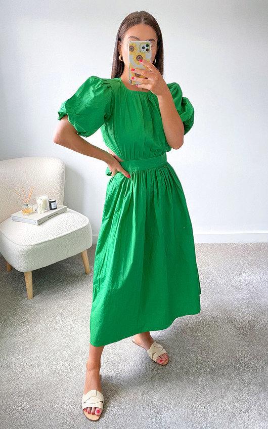 Genevieve Puff Sleeve Open Back Midi Dress