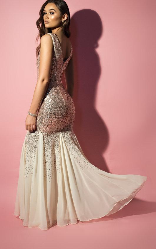 Genevieve Sequin Fishtail Maxi Dress