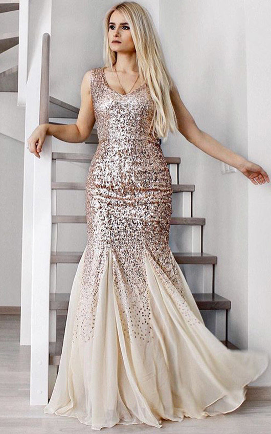 Genevieve Sequin Fishtail Maxi Dress