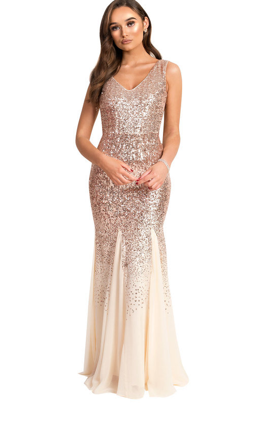 fb5f8e599c8 Genevieve Sequin Fishtail Maxi Dress in Champagne