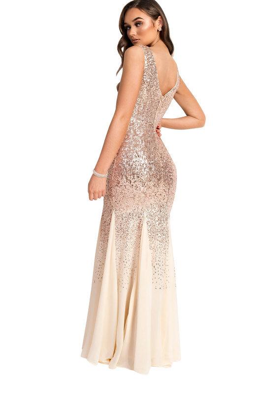 fb5f8e599c8 Genevieve Sequin Fishtail Maxi Dress in Champagne