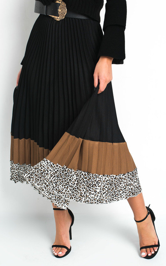 Geo Pleated Stripe Midi Skirt