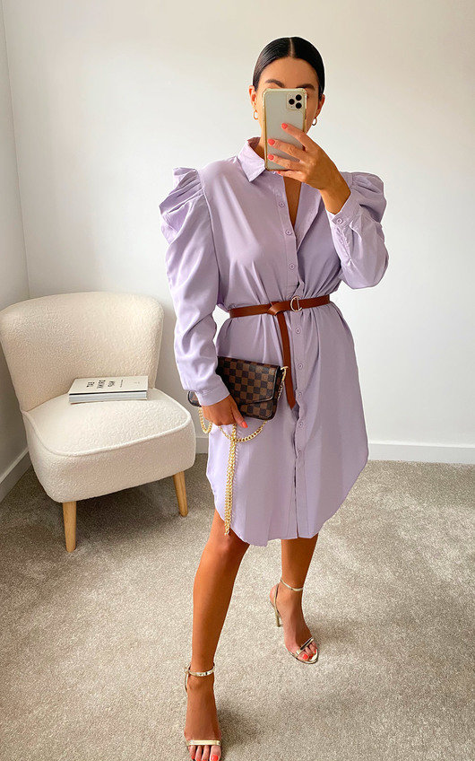 Geo Puff Sleeve Shirt Dress