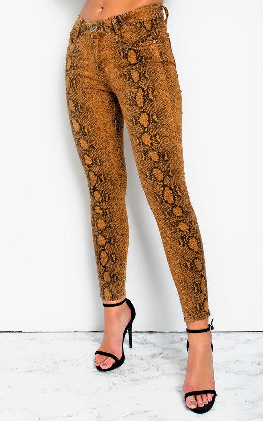 Geo Skinny Snake Skin High-Rise Jeans
