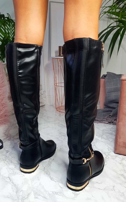 Georgie Faux Leather Gold Bar Knee High Boots