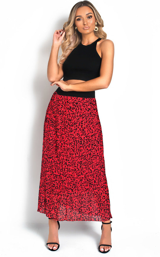 Georgie Pleated Animal Print Midi Skirt