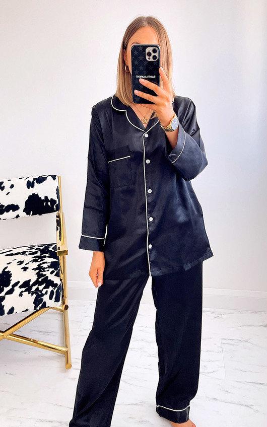Georgina Satin Pyjama Co-ord with Contrast Stitching