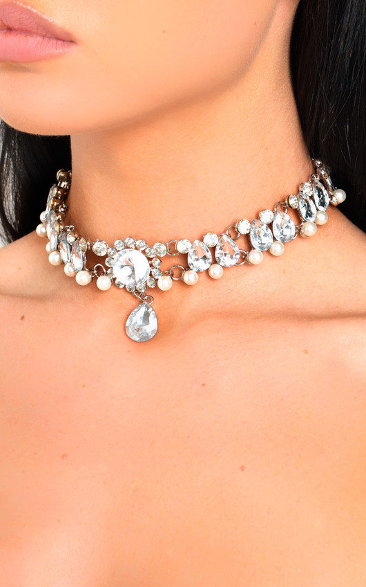 Gerri Diamante Pearl Choker Necklace