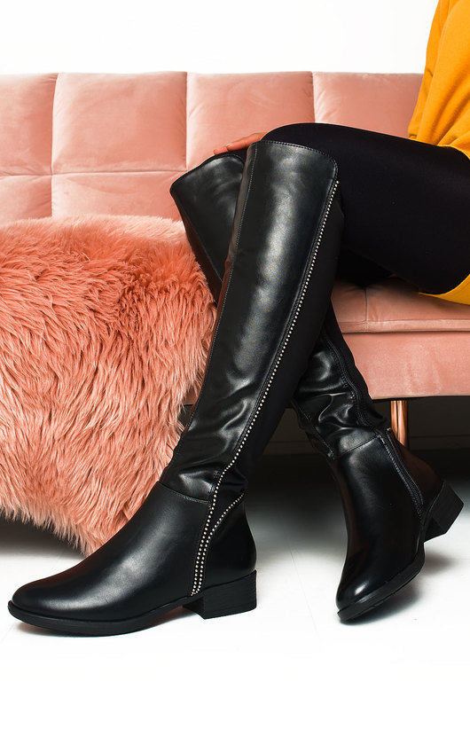 Gerri Faux Leather Studded Knee High Boots