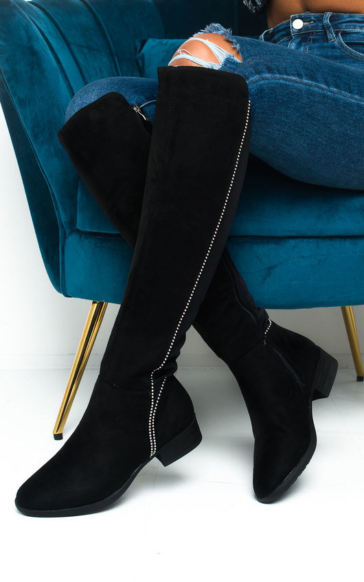 Gerri Faux Suede Studded Knee High Boots