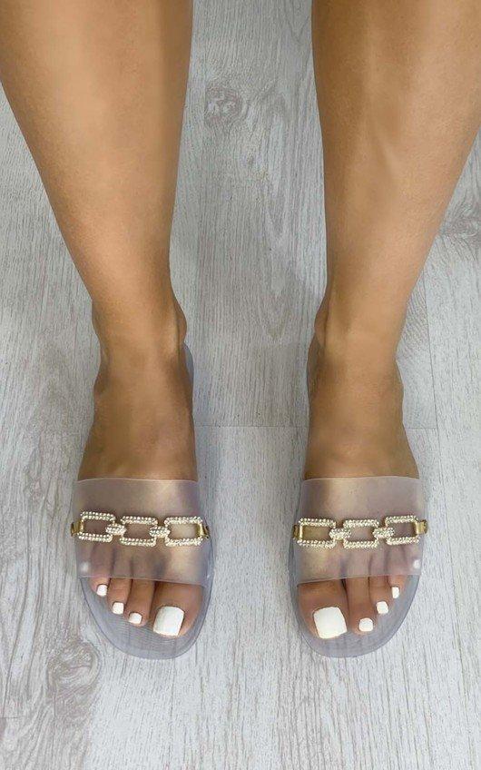 Gillian Diamante Detail Rubber Sliders