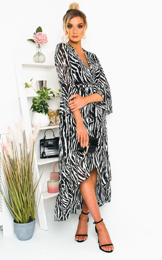 Gina Printed Frill Maxi Dress