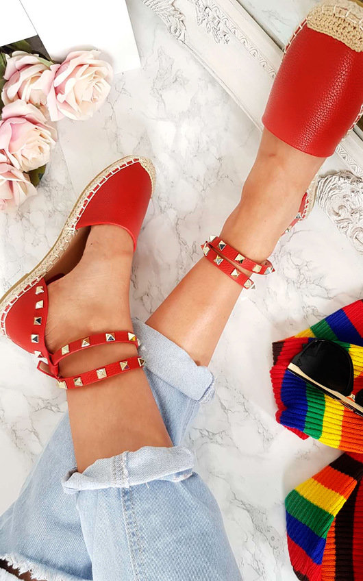 Giovanni Studded Red Espadrilles