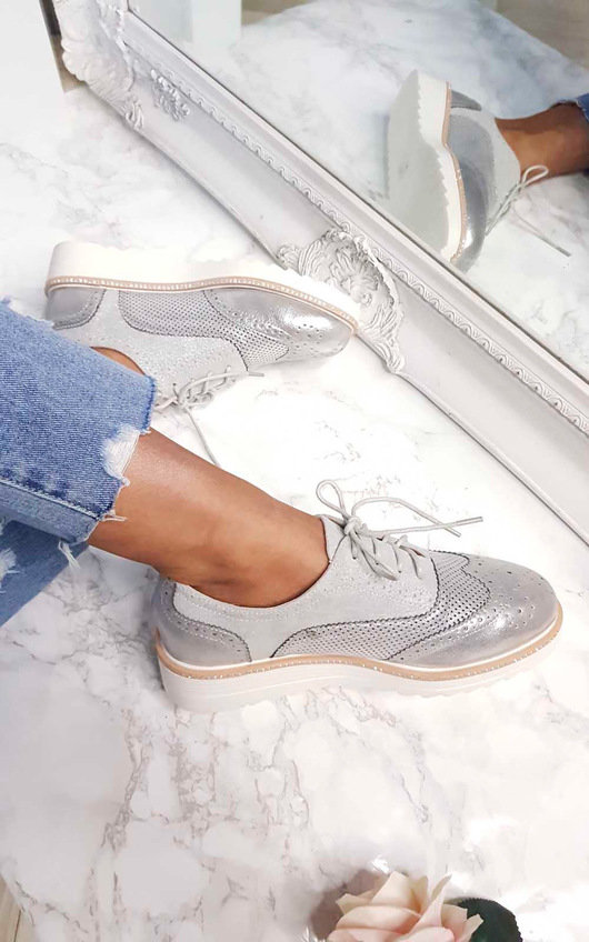 Gisele Faux Suede Wedged Brogue Trainer
