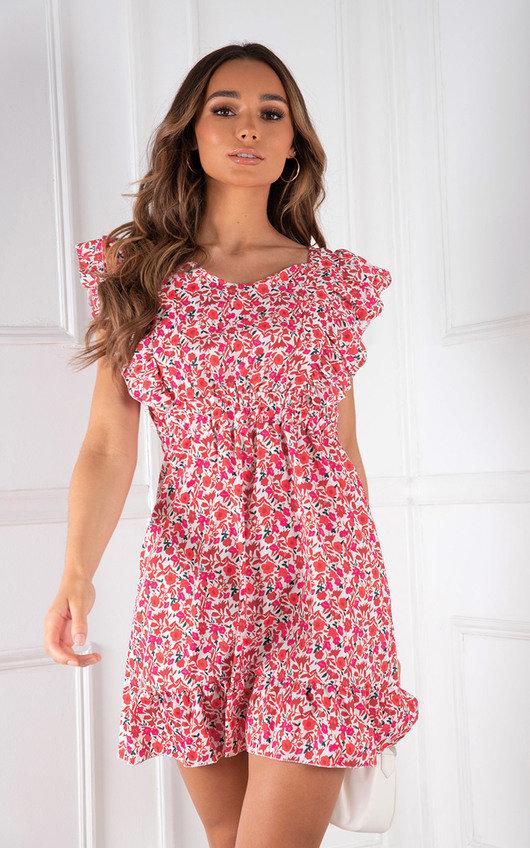 Gisele Ruffled Sleeve Floral Printed Mini Dress