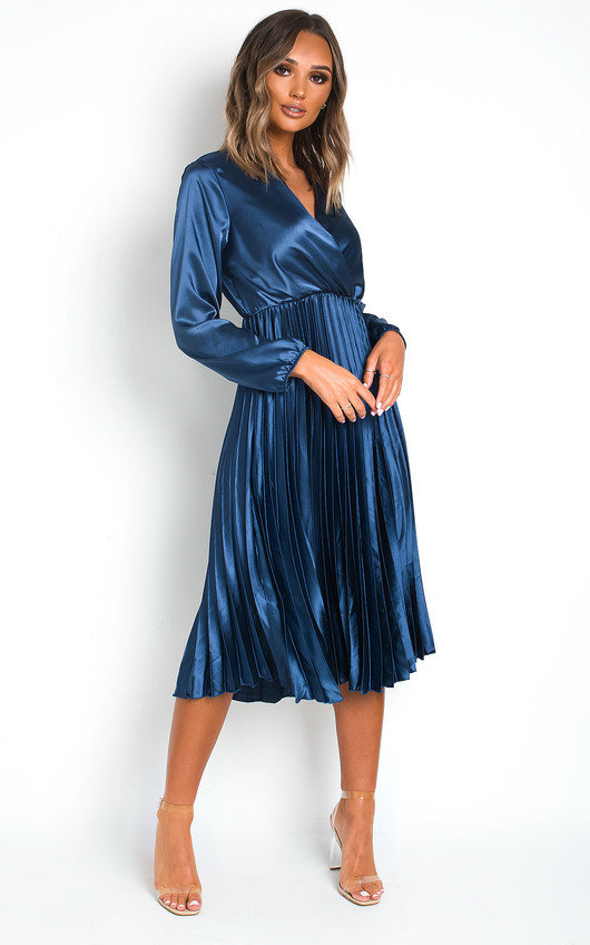 Glenn Satin Pleat Midi Dress