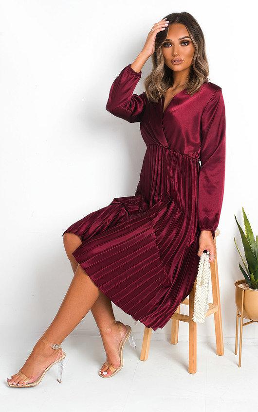 Glenn Satin Pleat Midi Dress