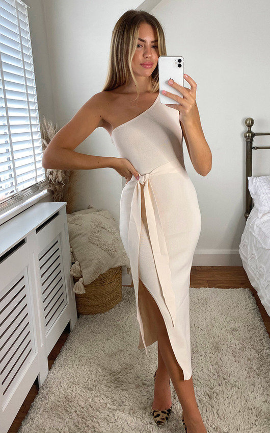 Goldie Knitted Belted One Shoulder Thigh Split Midi Dress