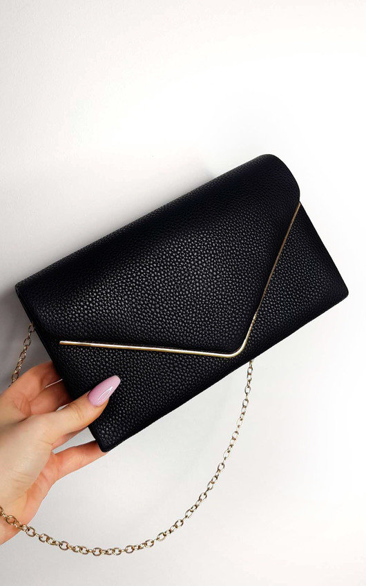 1d61bad52a Grace Faux Leather Envelope Clutch Bag in Black | ikrush