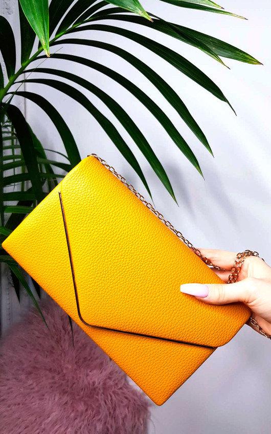 358a4342ba Grace Faux Leather Envelope Clutch Bag in Mustard | ikrush