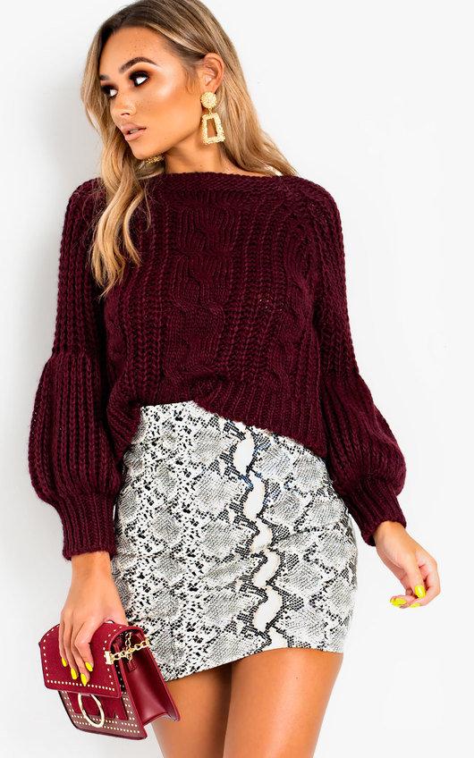 3d9b4e1e7526 Gracie Knitted Jumper in Wine
