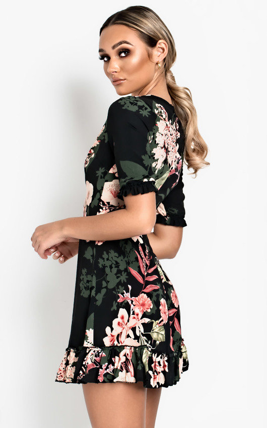 Haili Floral Frill Low Neck Dress