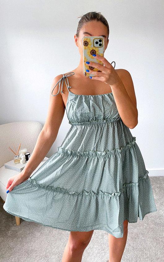 Haley Tiered Tie Strap Mini Dress