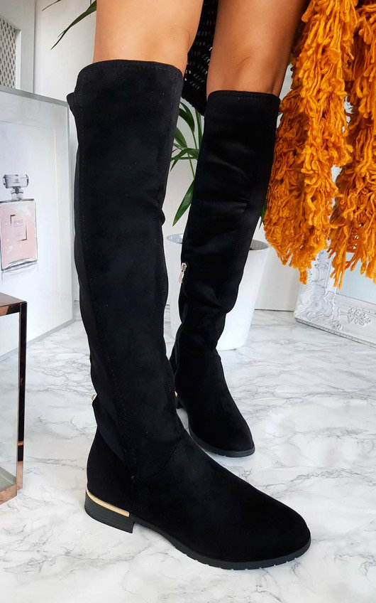 Hallie Over Knee Studded Faux Suede Boots