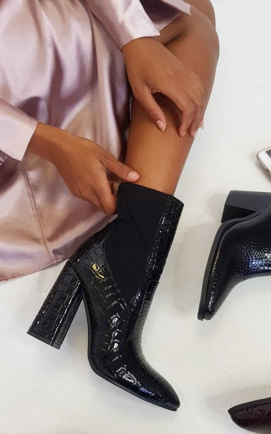 Hanna Croc Print Heeled Ankle Boots