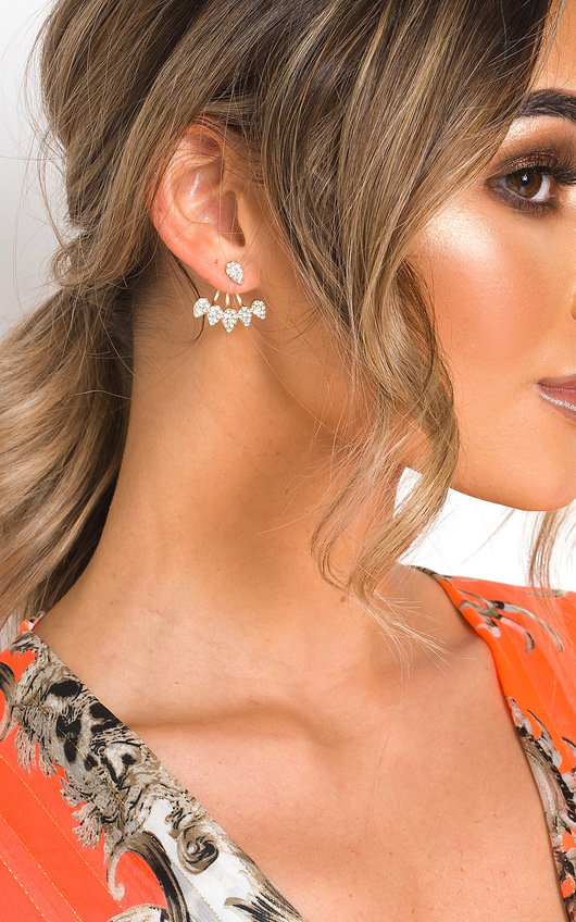 Hanna Diamante Back Drop Stud Earrings