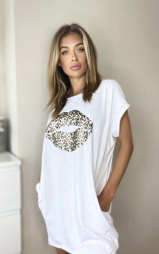 Hanna Leopard Print Lips Oversized Top