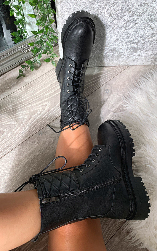 Hanna Quilted Lace Up Biker Boots