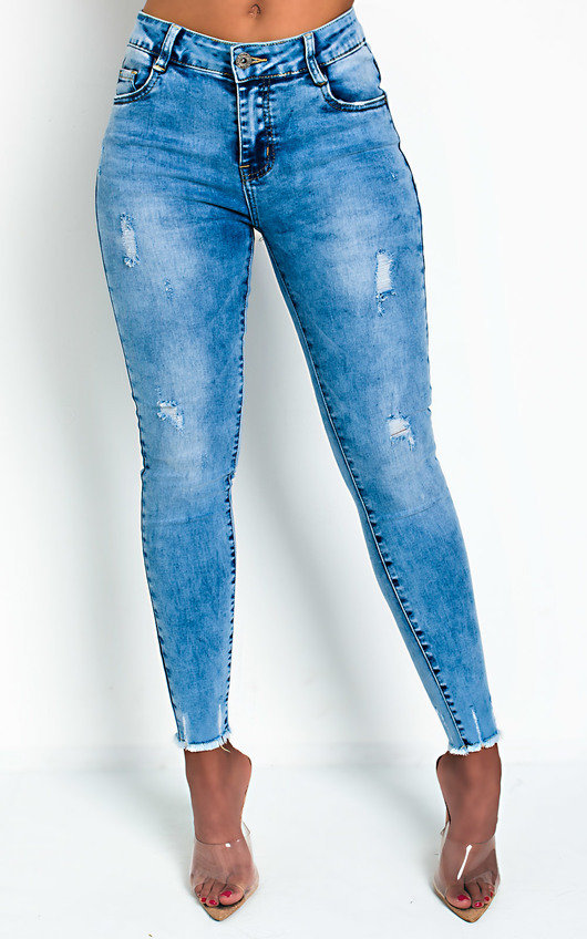 Hannah Distressed Frayed Skinny Jeans