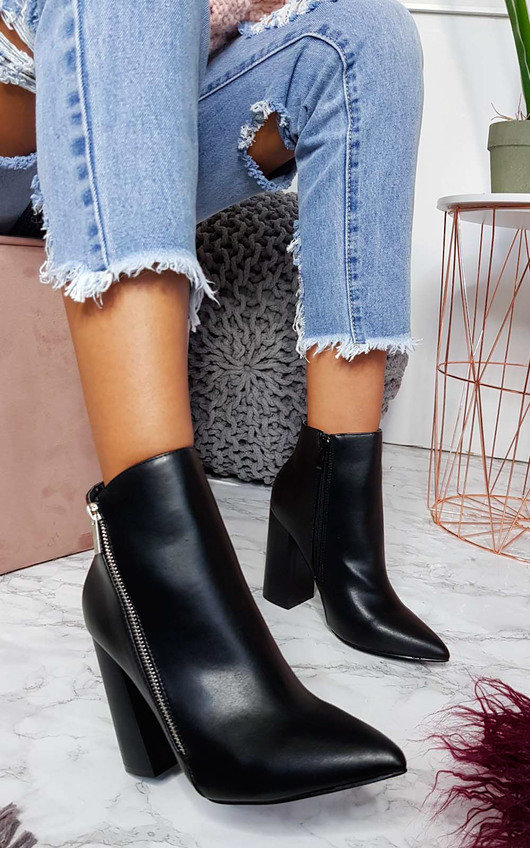 1cd74e6fc19 Hannah Faux Leather Pointed Boots in Black