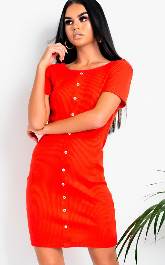 5c81977392ba Hannah Ribbed Button Front Mini Dress in Red | ikrush