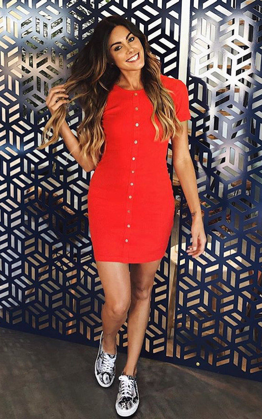 72e643f0abf Hannah Ribbed Button Front Mini Dress in Red | ikrush