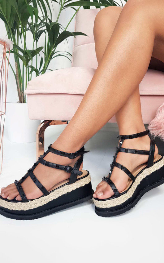 Hannah Studded Espadrille Wedge Sandal