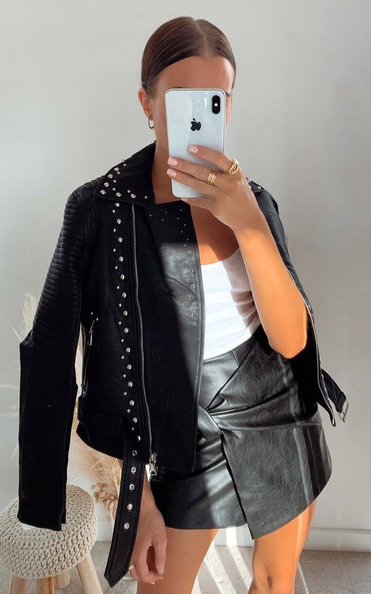 Hannah Studded Faux Leather Jacket
