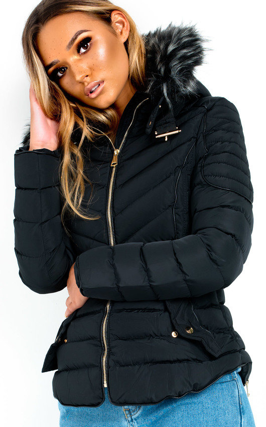 Harley Padded Faux Fur Hood Jacket