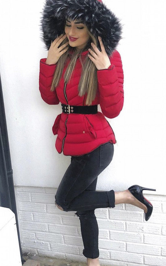 Harley Padded Faux Fur Hood Jacket
