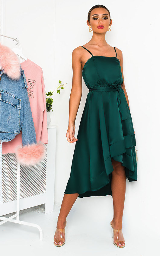 Harlow Satin Frill Midi Dress